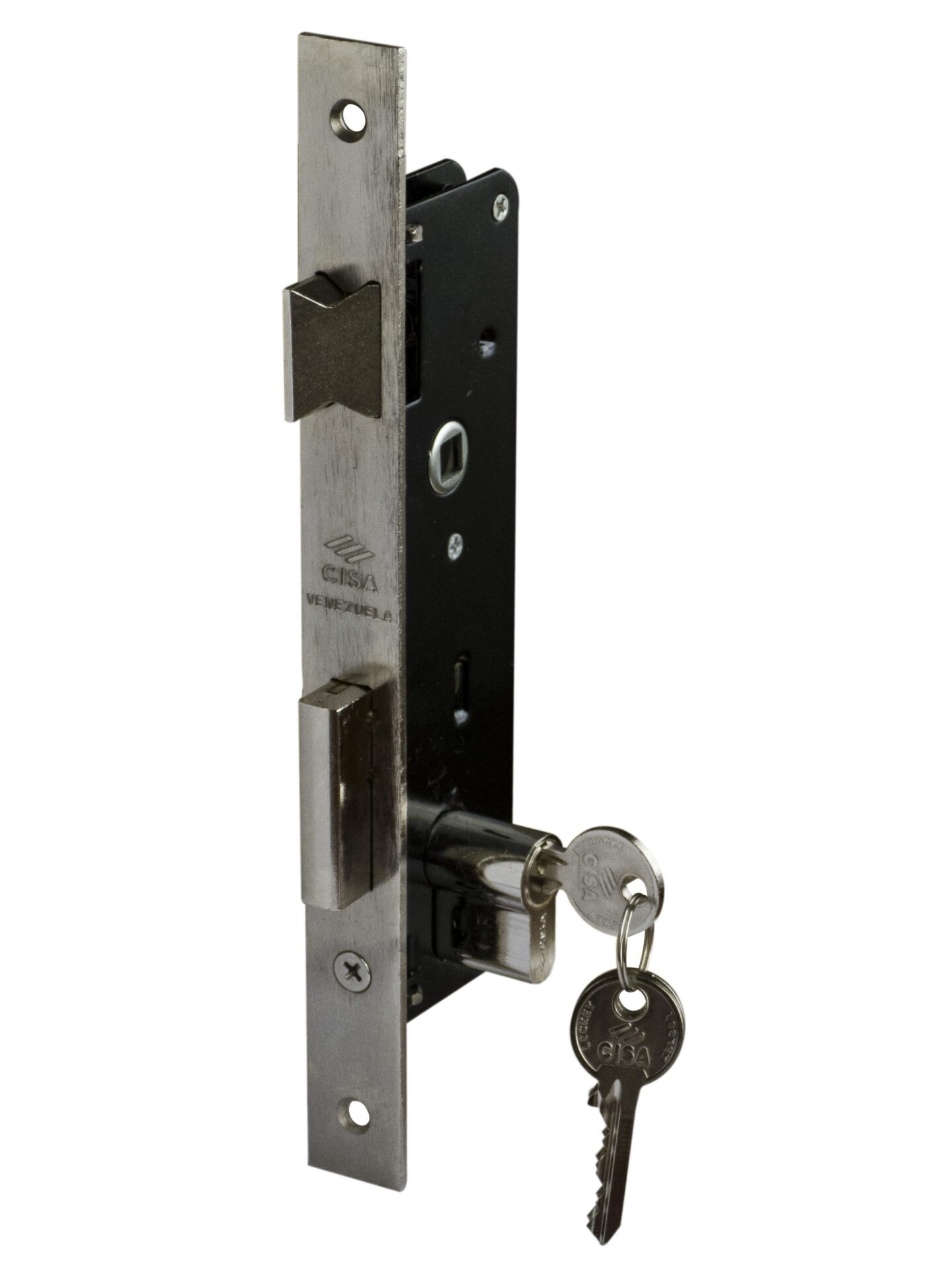 "Reversible Latch (Left or Right Handed) with Square Lever/Knob Entrance Mortise Door Lock 1-3/4"" (45 mm)"